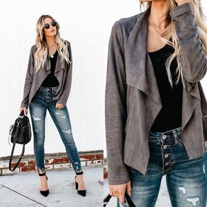 Jackets & Blazers - Faux suede waterfall cardigan gray women's jacket